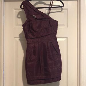Plum one shoulder dress